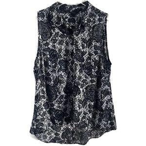 GUESS Black & White Floral Lace Print Top XL